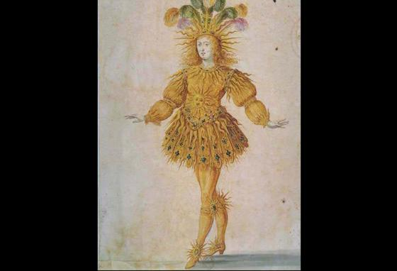 King Louis XIV of France is seen in costume playing Apollo in a ballet in 1653. (public domain)