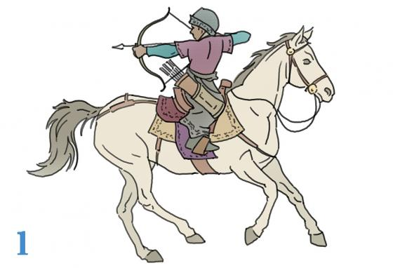 Genghis Khan's Mongol warriors shoot from horses. (R. Bishop)