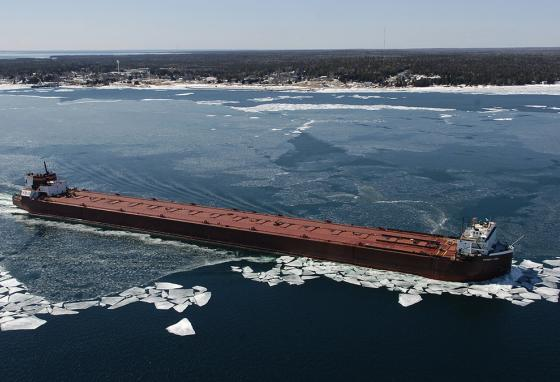 A freighter moves up the St. Mary's River. (AP)