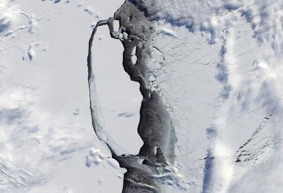 Iceberg A68 is seen from space. It is the size of the state of Maryland! (NASA)