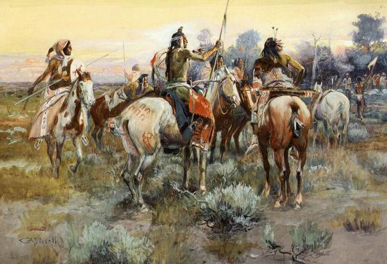Indian horses with war paint seen in a painting by western artist Charles M. Russell in 1907.