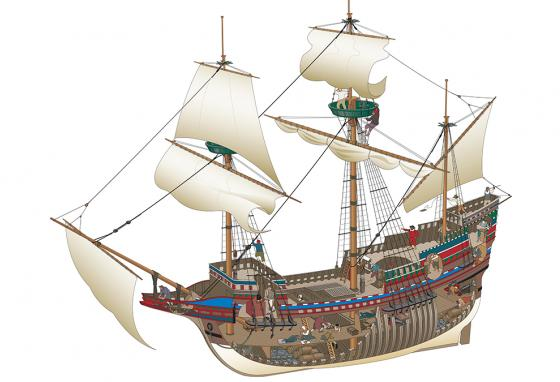The Mayflower was a square-rigged ship meant for cargo, not passengers. (RB)