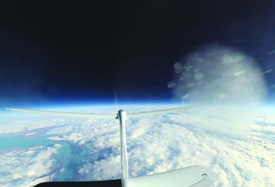 The tail camera of the Airbus Perlan 2 glider captured this view from a world-record altitude. (Airbus)