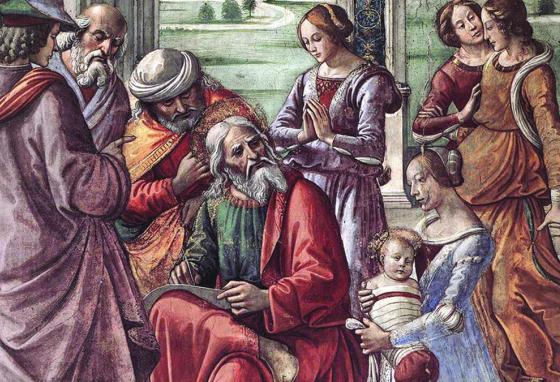 This detail of a painting from the 1400s shows Zechariah with a tablet, writing the name of his son, J-O-H-N.