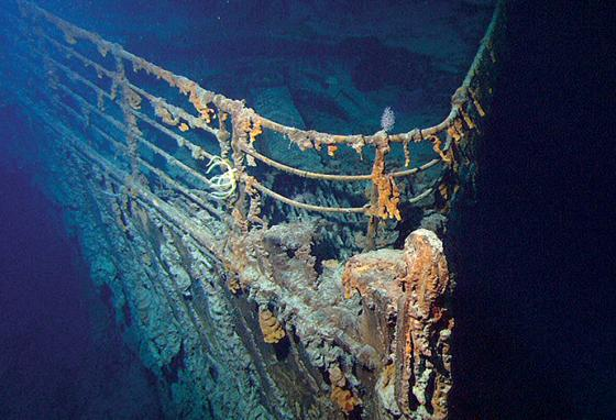 A 2010 expedition took video of the sunken Titanic. In this picture, the bow (front) of the ship is seen crusted and deteriorating. (AP)