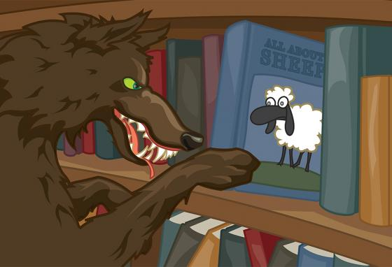 Would you be surprised to find a wolf in the library? You will—in words, that is. (RB)