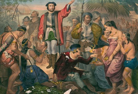 """A painting of Christopher Columbus with Native Americans in """"the New World"""""""