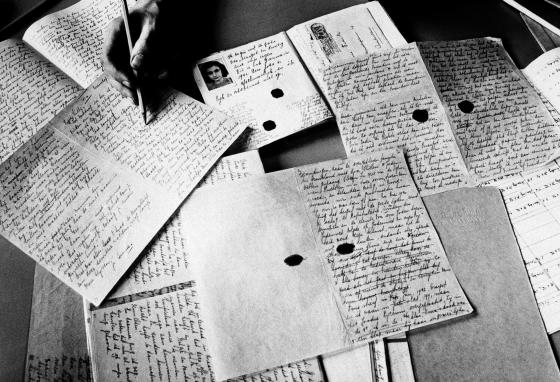 Copies of Anne Frank's diary are photographed in Amsterdam. She kept a handwritten diary while in hiding from the Nazis during World War II. (AP)