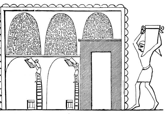 This woodcut image shows beehive-shaped ancient Egyptian granaries.