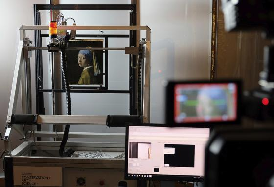 A macro X-ray fluorescence scanner is used to study Girl with a Pearl Earring in fine detail. (AP)