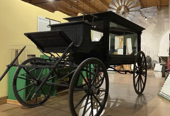 This horse-drawn wagon is believed to have carried the body of Old West lawman Pat Garrett. It is shown at the New Mexico Farm & Ranch Heritage Museum in Las Cruces, New Mexico. (AP)