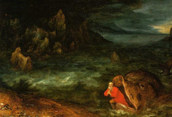 This painting by Jan Bruegel the Elder depicts Jonah and a big fish.