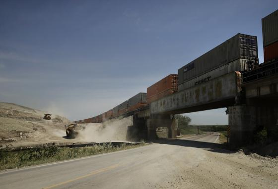 Workers expand the BNSF railway from one to two tracks near Matfield Green, Kansas. (AP)