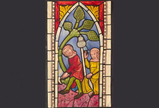 This stained glass window shows Adam and Eve working with a hoe and a distaff (a tool used to prepare wool or flax for spinning). The window is in Hejde church in Sweden. (Swedish National Heritage Board)