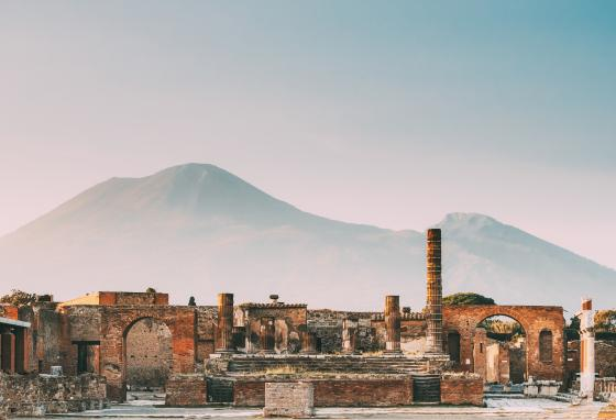 Pompeii was preserved by the volcano's debris. People have been digging it up for more than 200 years.