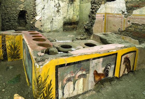 Archaeologists uncovered the thermopolium in the Pompeii archaeological park near Naples, Italy. (Luigi Spina/Parco Archeologico di Pompei via AP)
