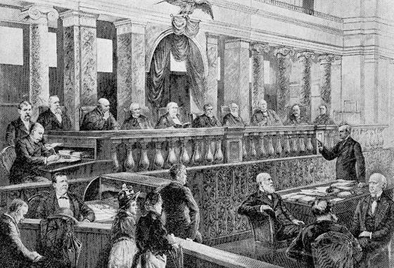 This engraving shows the Supreme Court of 1888 hearing oral arguments. At this time, it met in a smaller room in the Capitol building. (AP)