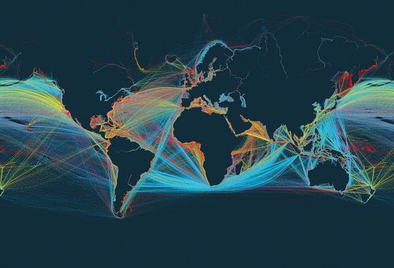 This image from shipmap.org shows every shipping route taken in 2012. (shipmap.org)