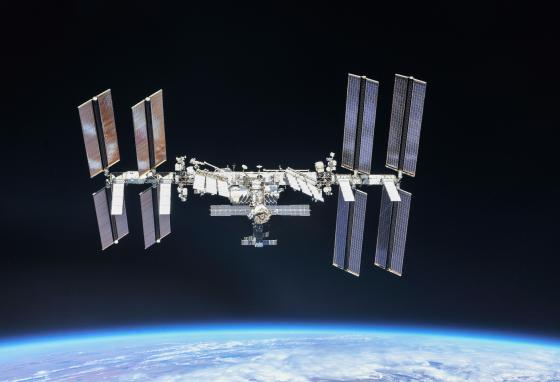 The International Space Station is a group project. Many countries have helped put it together. (NASA)