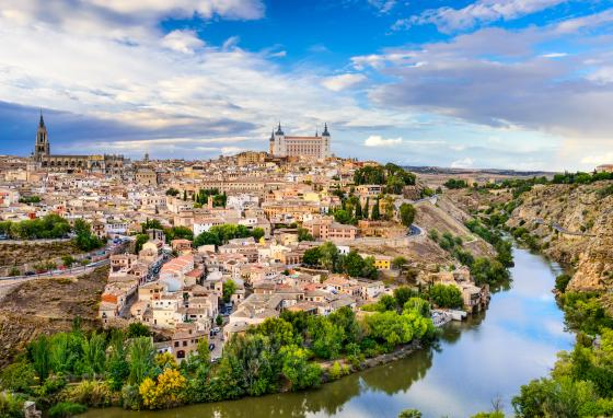 Toledo, Spain, is an old city set on a hill.