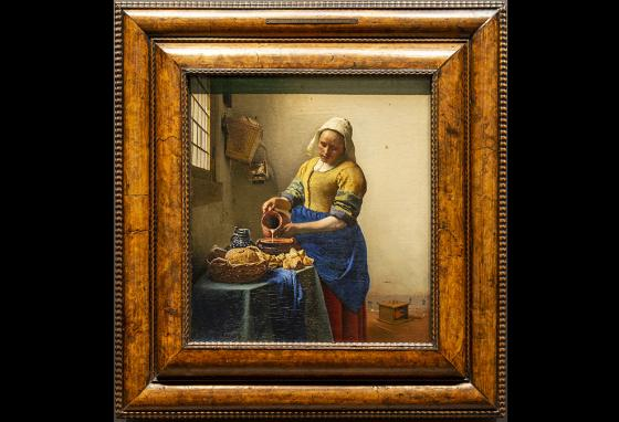 Paint made from lapis lazuli creates the vibrant blue color in Johannes Vermeer's painting The Milkmaid.
