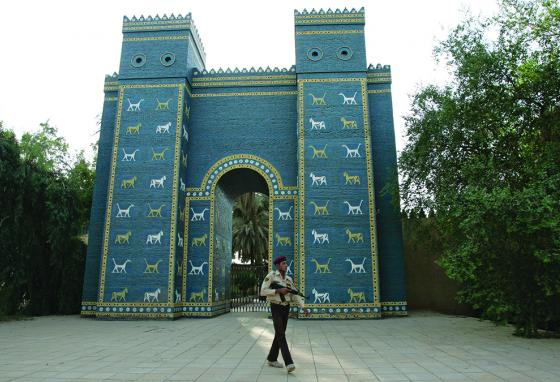 An Iraqi soldier walks in front of the Ishtar Gate. (AP)