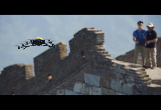 Members of the Intel team operate a Falcon 8+ drone from atop the Wall. (Intel)