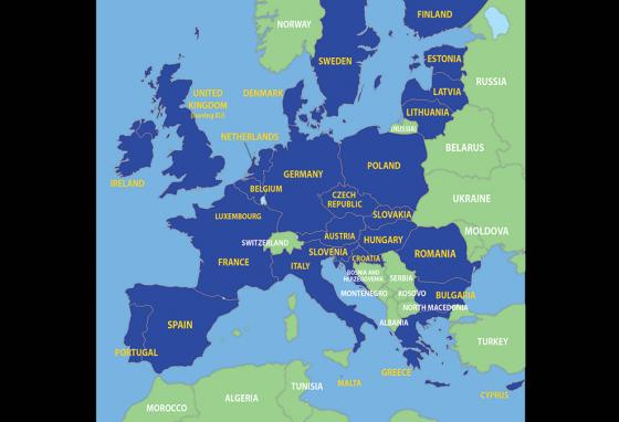 European Union member countries are shown in blue.