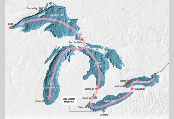 The Great Lakes are naturally connected, but it took engineering of locks and channels to allow big ships to move from one lake to the next.