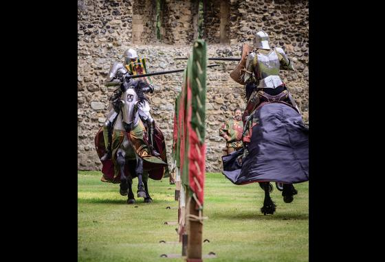 Two contestants charge at each other on horseback at speeds of up to 30 miles per hour during a jousting match in England. (AP)