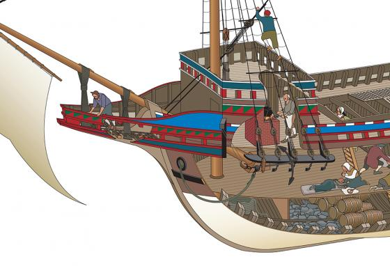 The beakhead, or beak, is built onto the bow (front). One use for the beak is as a toilet area. (RB)