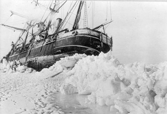 The sailing ship Endurance creaks and groans as it is stuck and crushed by the sea ice. (LOC)