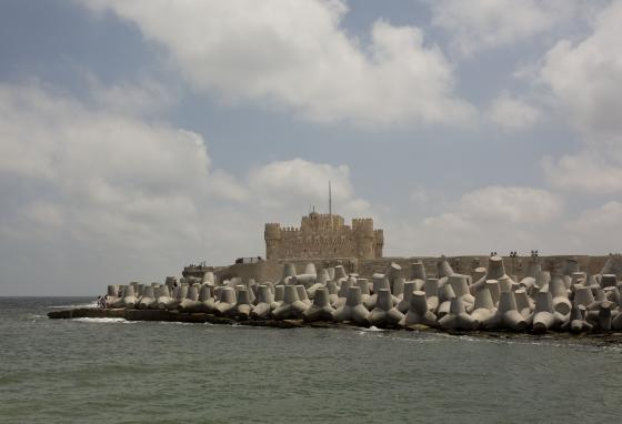 Cement barriers look like giant toys. They reinforce the sea wall near the citadel in Alexandria, Egypt. (AP)