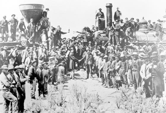 On May 10, 1869, railroad officials and workers celebrate the two sides of the Transcontinental Railroad meeting in Promontory, Utah. (AP)
