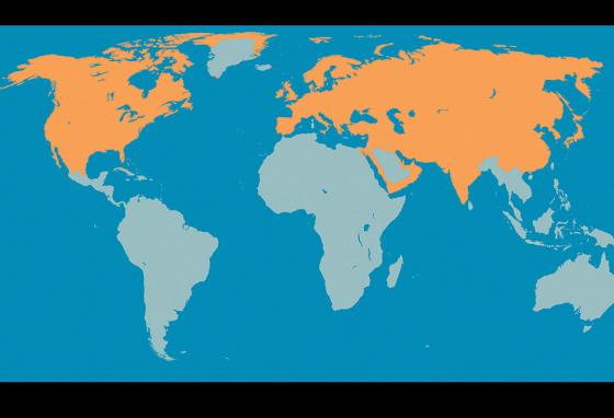Wolves once roamed most of the Northern Hemisphere. Orange shows where gray wolves once lived. (RB)