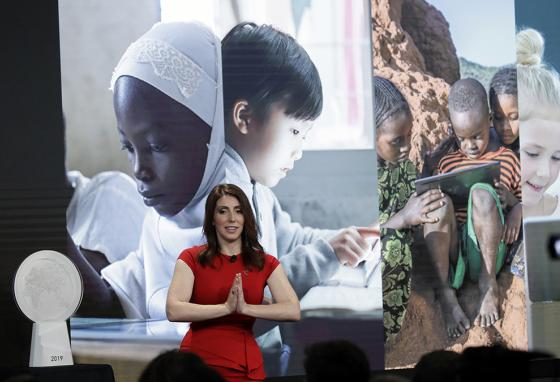 XPRIZE director Emily Church speaks during the presentation of the award for Children's Literacy in Los Angeles, California. (AP)