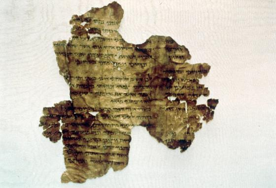 A Dead Sea Scroll fragment. The scrolls contain parts or whole copies of every Old Testament book except Esther.