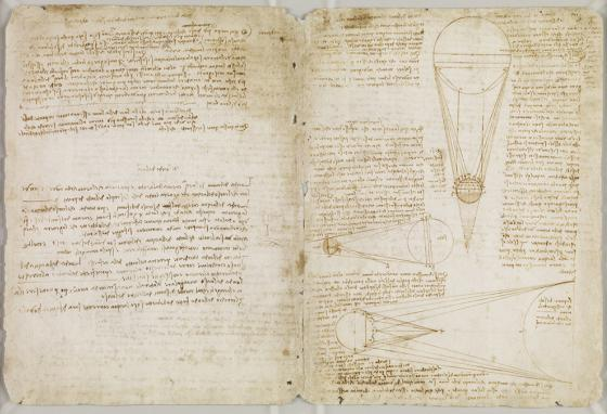 Pages from one of da Vinci's notebooks, the Codex Leicester, gives an example of his unique writing and sketching.