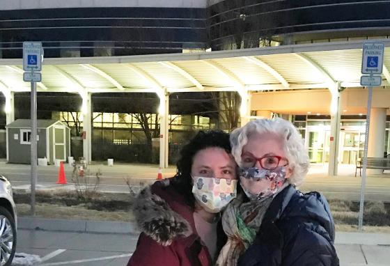 Margaret Stegall (left) and her mother, Kim Stegall, flew to Denver, Colorado, to see if her liver would work for Mrs. Thorin. They took this picture just before the liver donation surgery on February 22, 2021.