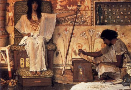 Joseph was in charge of Egypt's granaries. Lawrence Alma-Tadema painted this depiction of him in 1874.