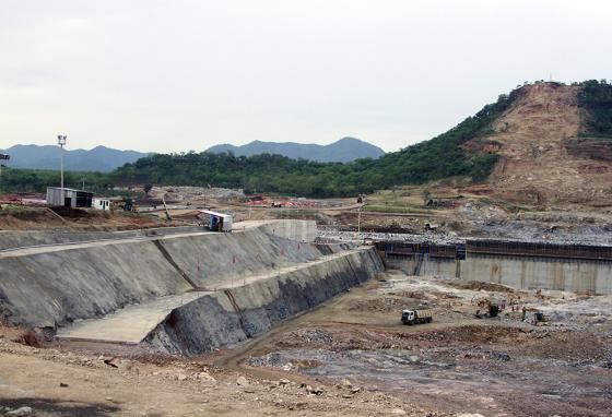 Construction work on the controversial dam (AP)