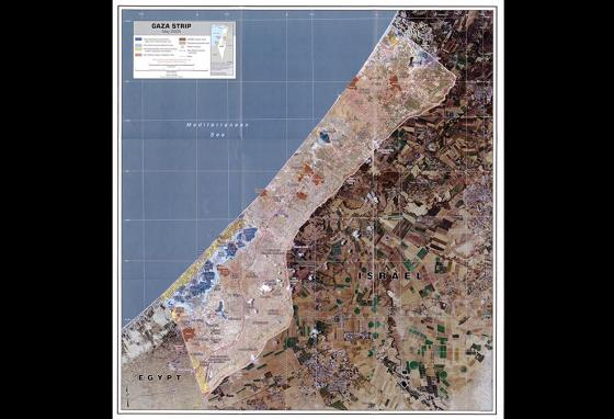 A map showing the Gaza Strip, neighbored by Israel and Egypt
