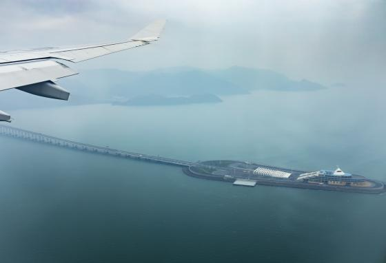 The bridge from Hong Kong to China to Macau is the longest built sea crossing.