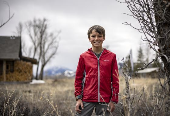 Charlie's favorite part of the reporting process is conducting interviews and getting quotes from Kelly residents. (Kayla Renie/Jackson Hole News & Guide via AP)