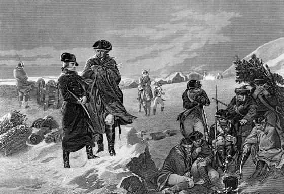 In this engraving made in 1874, Major General Marquis de Lafayette and General George Washington are shown at Valley Forge. (AP/T.F. Healy Collection)