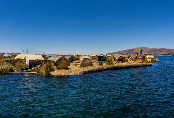 The Uru people once lived on Lake Poopó on floating reed islands like these on Lake Titicaca.