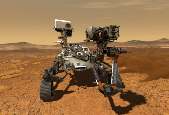An artist's idea of NASA's Mars 2020 rover, Perseverance, with its robotic arm extended (NASA)