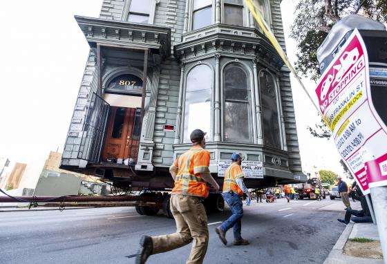 The house was built in 1882. It was moved to a new location about six blocks away to make room for apartments. (AP/Noah Berger)
