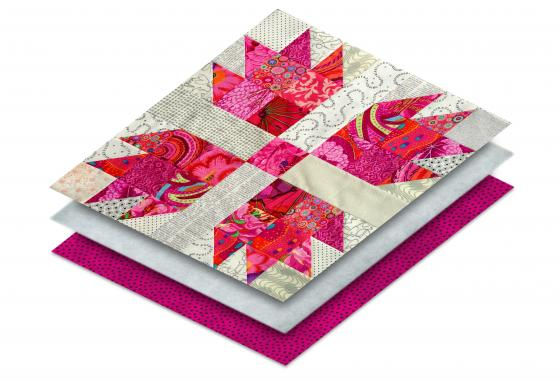 Quilts have three layers: the top with the pattern, batting in the middle, and backing on the bottom.