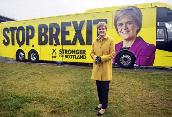 Scottish National Party leader Nicola Sturgeon launches an election campaign bus in the town of South Queensferry, Scotland, on December 5, 2019. (Jane Barlow/PA via AP)